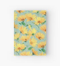 Painted Golden Yellow Daisies on soft sage green Hardcover Journal