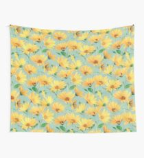 Painted Golden Yellow Daisies on soft sage green Wall Tapestry