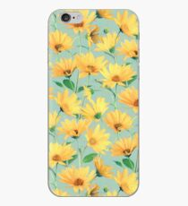 Painted Golden Yellow Daisies on soft sage green iPhone Case