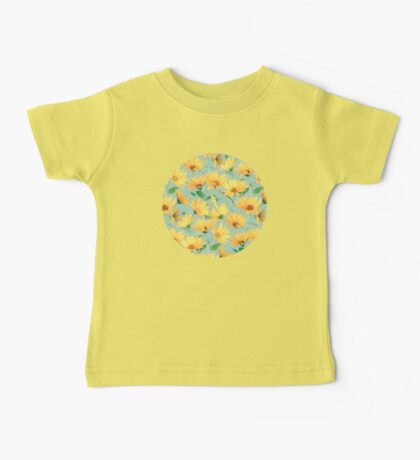 Painted Golden Yellow Daisies on soft sage green Kids Clothes