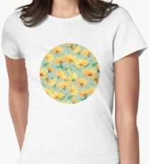 Painted Golden Yellow Daisies on soft sage green Womens Fitted T-Shirt