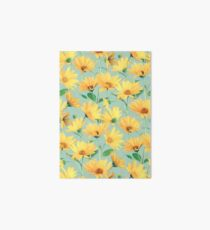 Painted Golden Yellow Daisies on soft sage green Art Board
