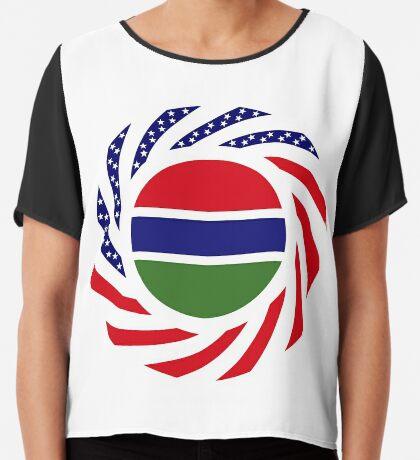 Gambian American Multinational Patriot Flag Series Chiffon Top