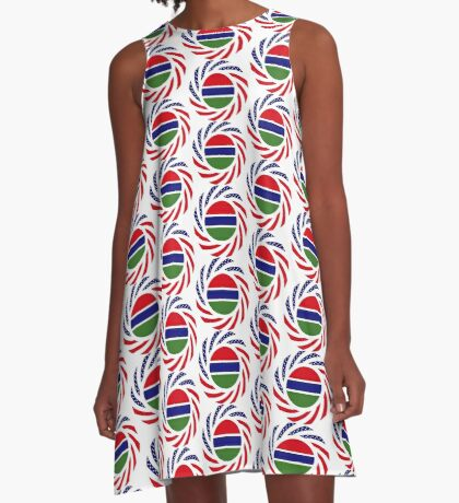 Gambian American Multinational Patriot Flag Series A-Line Dress