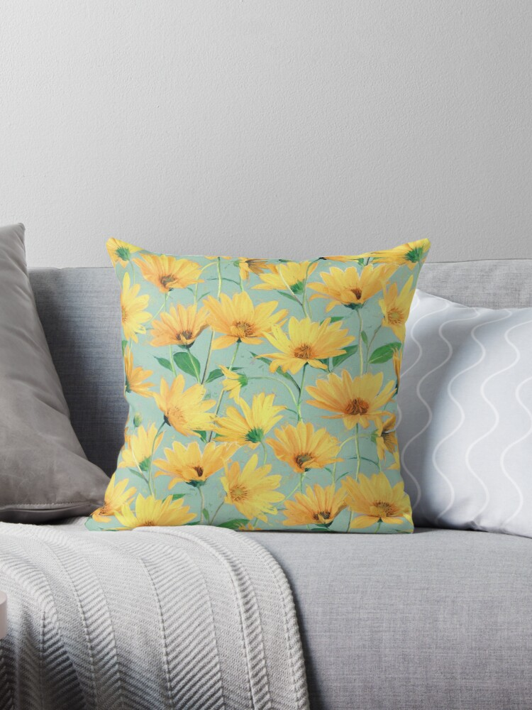 Painted Golden Yellow Daisies On Soft Sage Green Throw Pillows By