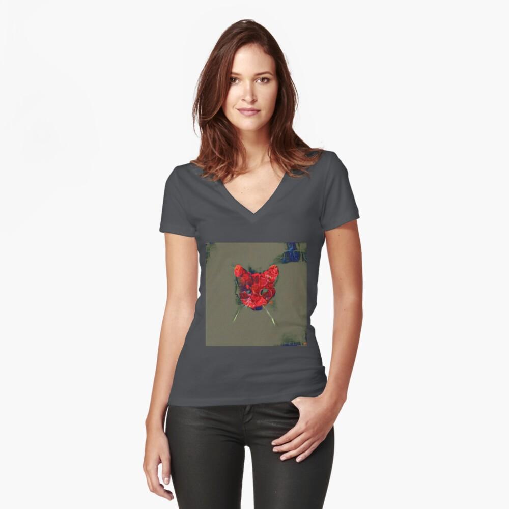 Ninja cat hiding in poppy #Art Fitted V-Neck T-Shirt