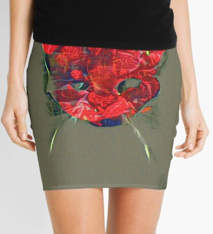 Ninja cat hiding in poppy #Art Mini Skirt