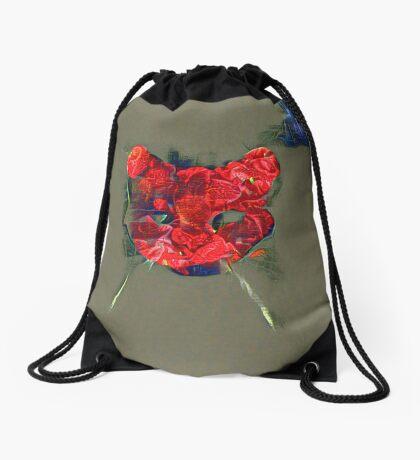 Ninja cat hiding in poppy #Art Drawstring Bag