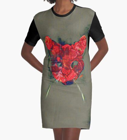 Ninja cat hiding in poppy #Art Graphic T-Shirt Dress