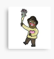 cartoon romantic man with flowers Canvas Print