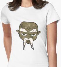 cartoon man with long mustache Women's Fitted T-Shirt