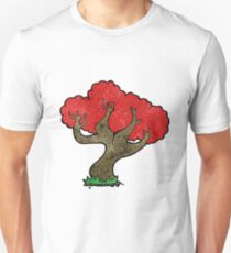 cartoon tree with red leaves Unisex T-Shirt