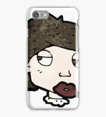 cartoon bored looking woman iPhone Case/Skin