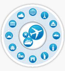 Traveling Icon Blue Circle Round Graphic Design Sticker