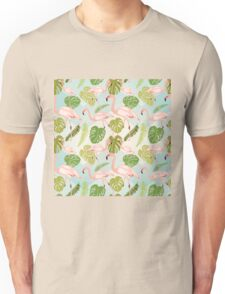 Hand drawn pink flamingo and monstera leaves. Seamless pattern Unisex T-Shirt
