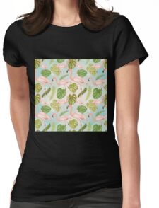 Hand drawn pink flamingo and monstera leaves. Seamless pattern Womens Fitted T-Shirt