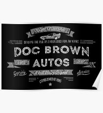 Doc Brown Autos Hill Valley BTTF Vintage Look Tee Poster