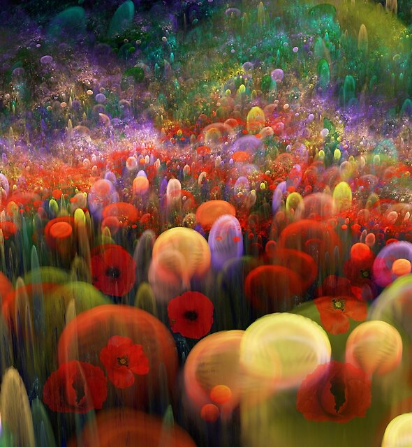 Dreamscape with poppies and orbs by walstraasart