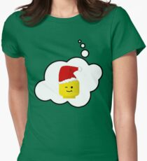 Santa Minifig Head by Bubble-Tees.com Womens Fitted T-Shirt