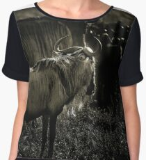 A young wildebeest watches his herd  Chiffon Top