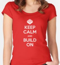 Keep Calm and Build On Women's Fitted Scoop T-Shirt