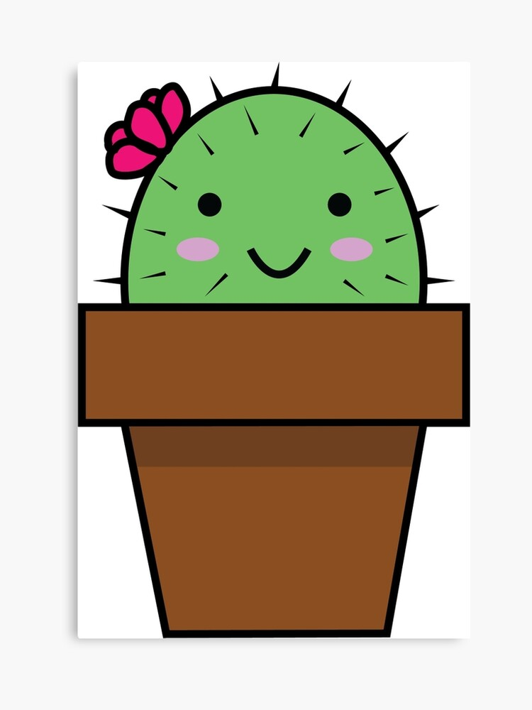 Happy Cactus Cartoon | Canvas Print