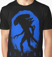 Aliens Egg Silhouette Blue Graphic T-Shirt