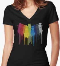 Dalek Extermination Rainbow Women's Fitted V-Neck T-Shirt
