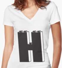 THE LETTER H  Women's Fitted V-Neck T-Shirt