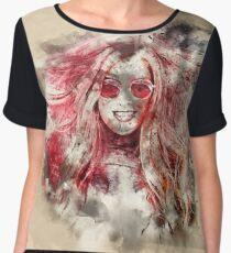 Watercolor Girl Portrait Women's Chiffon Top