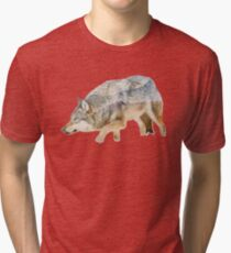Gray Wolf with Mountains Overlay Tri-blend T-Shirt
