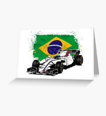 Formula 1 Racing - Brazil Flag Greeting Card