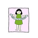 Happy Little Introvert Girl #2 by Introvert Doodles