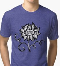 Abstract graphic flower in black and white Tri-blend T-Shirt