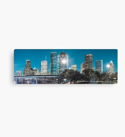 Downtown Houston Panoramic Skyline - Beautiful Blues Canvas Print