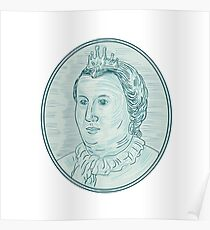 18th Century European Empress Bust Oval Drawing Poster