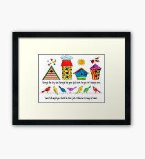 Birds & Birdhouses/God Cares Framed Print