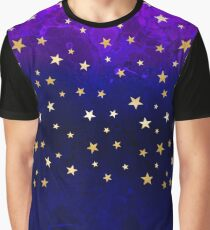 Watercolor galaxy. Sparkly flame illustration with golden stars Graphic T-Shirt