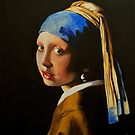 Acrylic Study of Vermeer's Girl with the Pearl Earring by Jan Szymczuk