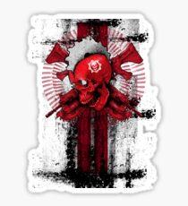 'Gears of war 4' skull on a black background Sticker