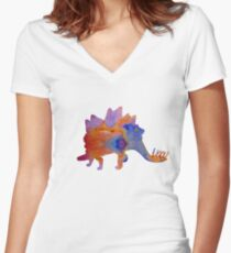 Dinosaur (Stegosaurus) Artwork Women's Fitted V-Neck T-Shirt