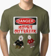 DANGER ZOMBIE OUTBREAK Tri-blend T-Shirt
