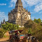 Myanmar. Bagan. Horse Carriage in front of the Temple. by vadim19