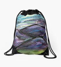 Purple Mountains at Night Drawstring Bag