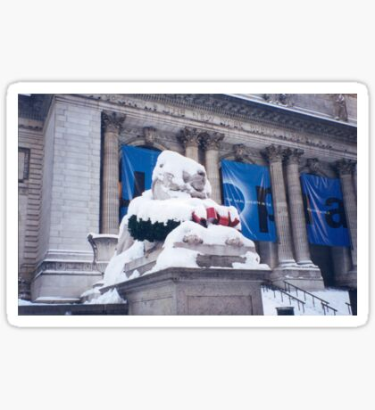 Snow-Covered Lion, New York Public Library Sticker