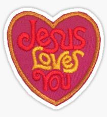 Jesus Loves You Vintage Patch Sticker