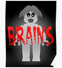 "Zombie Minifig ""BRAINS"", by Customize My Minifig Poster"