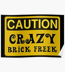 Caution Crazy Brick Freek Sign Poster
