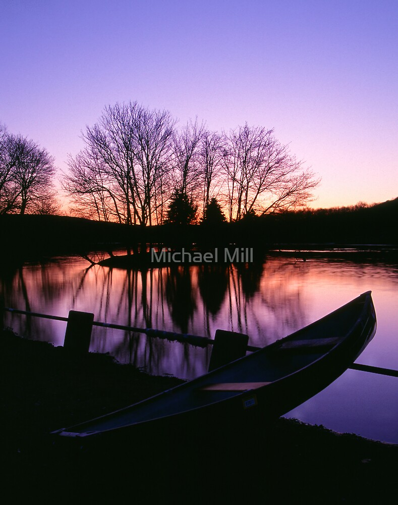 Moored Canoe by a Twilight Lake by Michael Mill