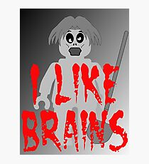 """Zombie Minifig """"I LIKE BRAINS"""", by Customize My Minifig Photographic Print"""
